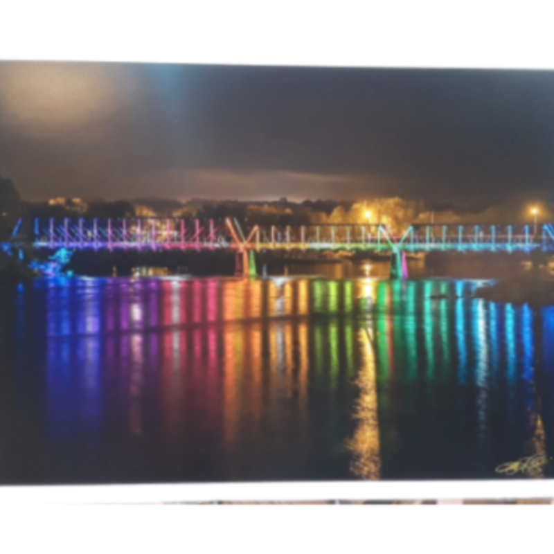 Lloyd Fleig Greeting Card - Phoenix Park Bridge at Night