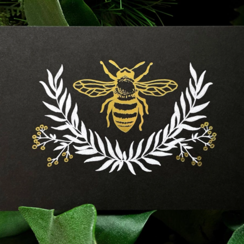 Bee Art Print - Black & Gold (5x7)