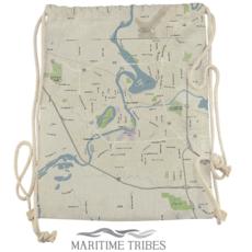 Volume One Canvas Drawstring Bag - Eau Claire Map