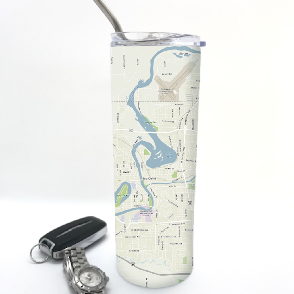 Volume One Stainless Steel Travel Mug - Eau Claire Map
