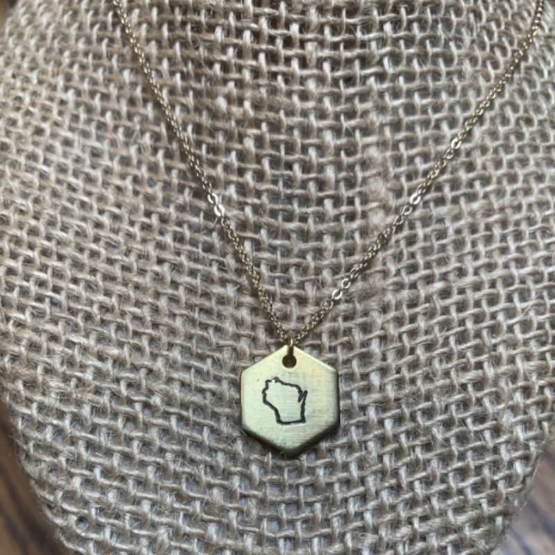 Hexagon Necklace: Wisconsin