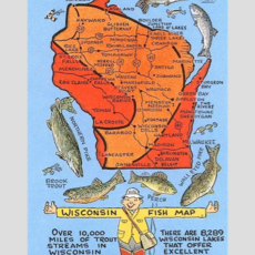 Found Image Press Fishing Map of Wisconsin Vintage Print (12.5x18)