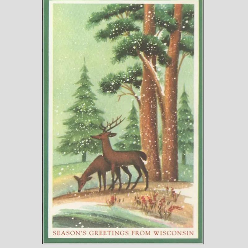 Found Image Press Season's Greetings from Wisconsin (Deer) Vintage Print (12.5x18)