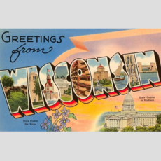 Found Image Press Greetings from Wisconsin Vintage Print (12.5x18)