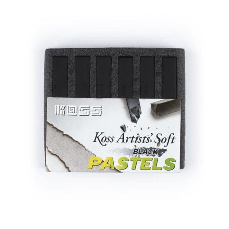 Volume One Koss Artists' Soft Pastel Chalks - 6 BLACK