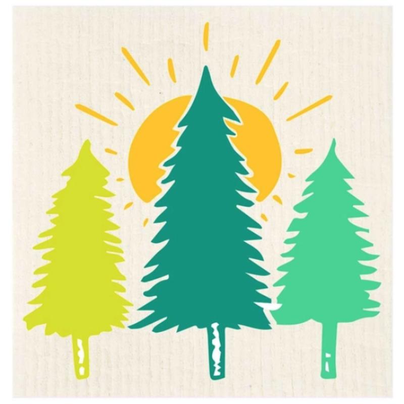 Swedish Dishcloth - Sunrise Trees