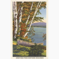 Found Image Press Postcard - Greetings from Northern Wisconsin (Boat / Lake)