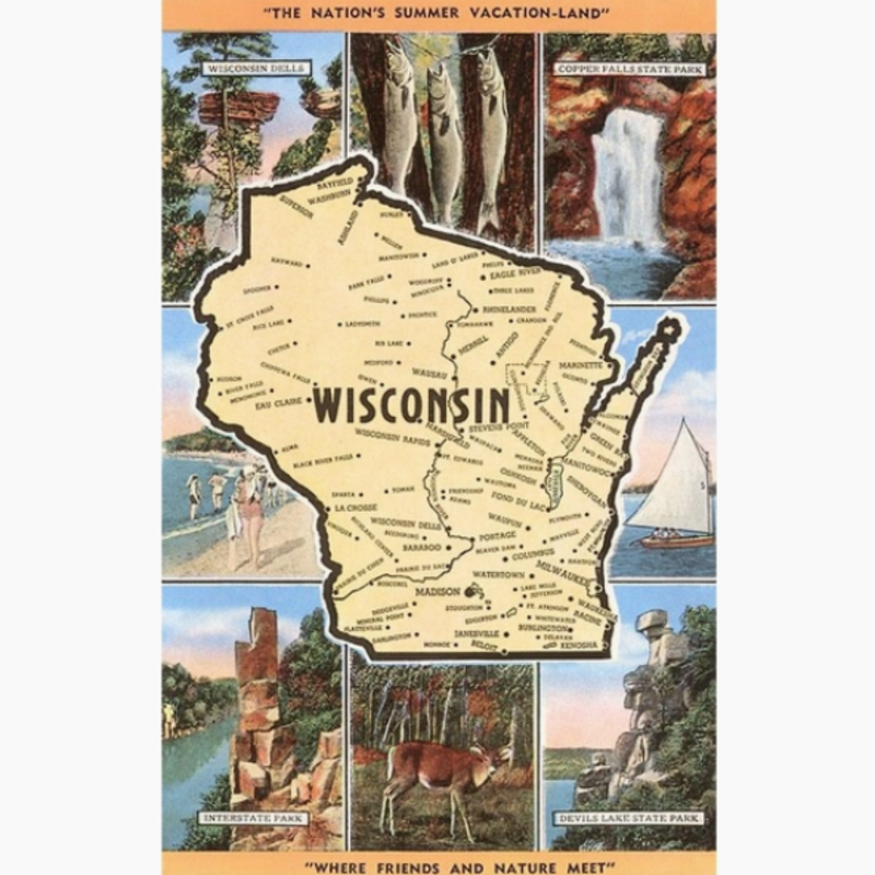 Found Image Press Postcard - Views and Map of Wisconsin