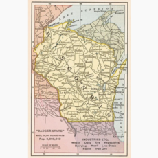 Found Image Press Postcard - Map of Wisconsin
