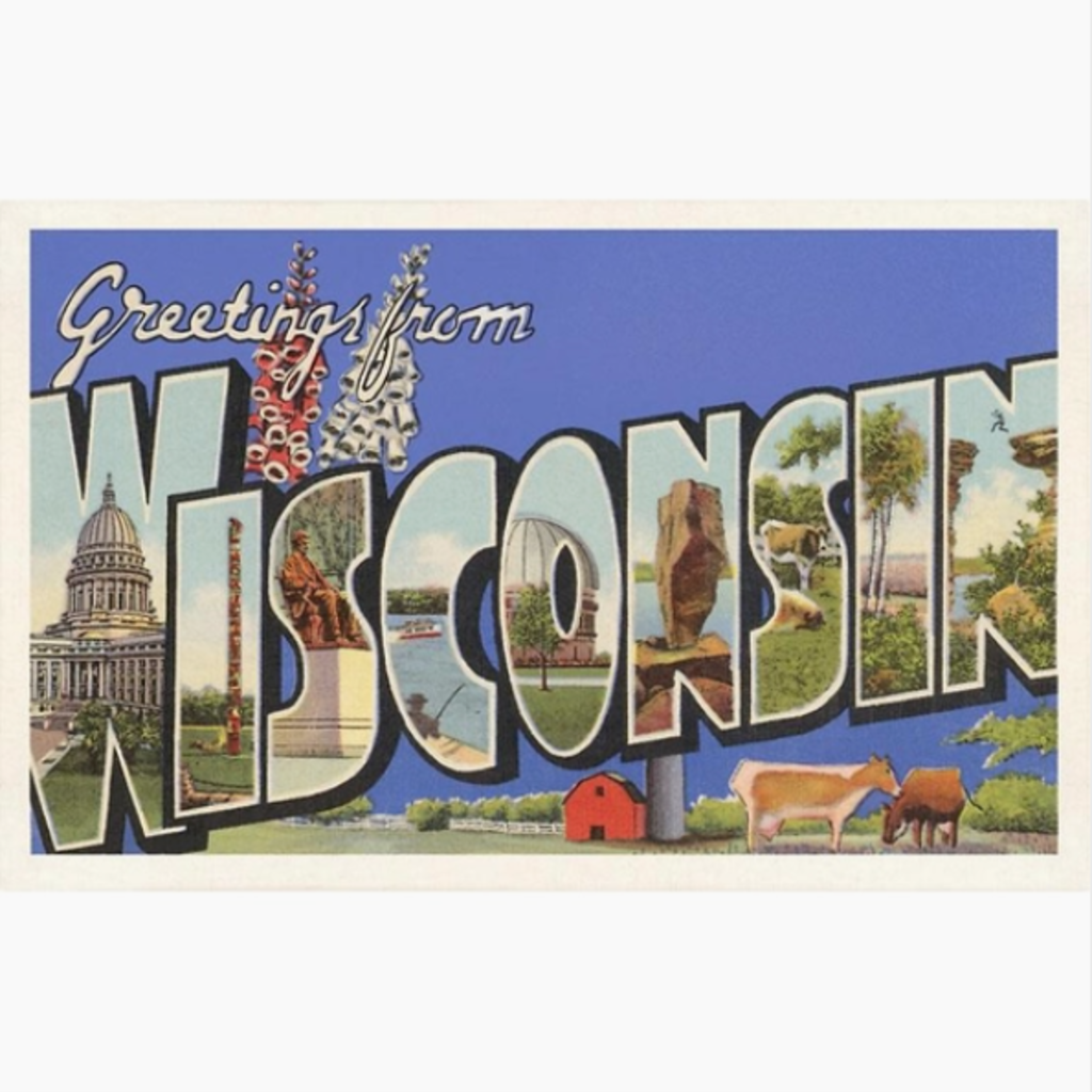 Found Image Press Greeting Card - Greetings from Wisconsin (Purple)
