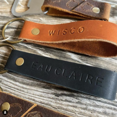 Leather Stamped Key Fob - Wisco