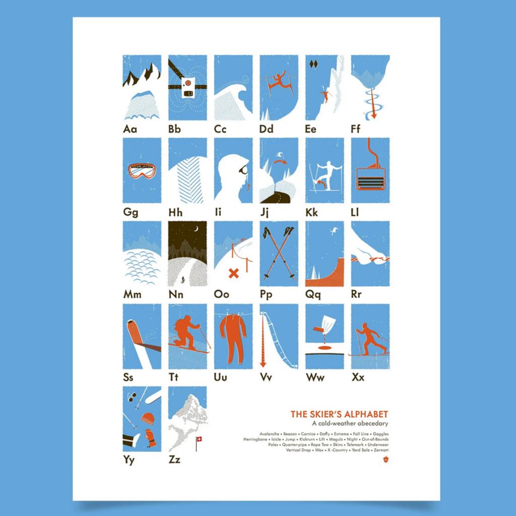 Skiers Alphabet Poster 18x24