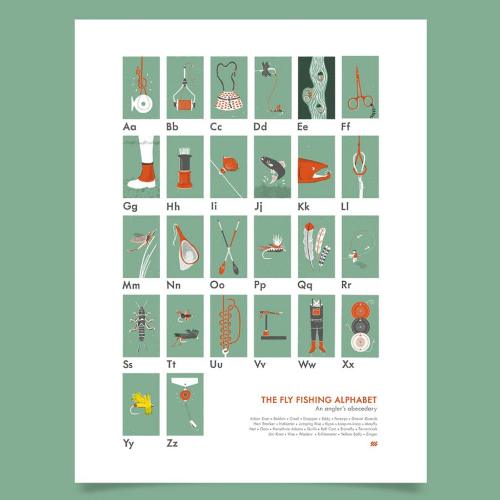 Fly Fishing Alphabet Poster 18x24