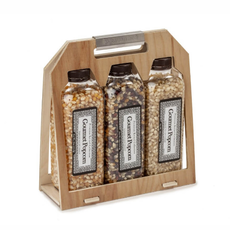 Gourmet Popcorn Collection Wooden Crate Set