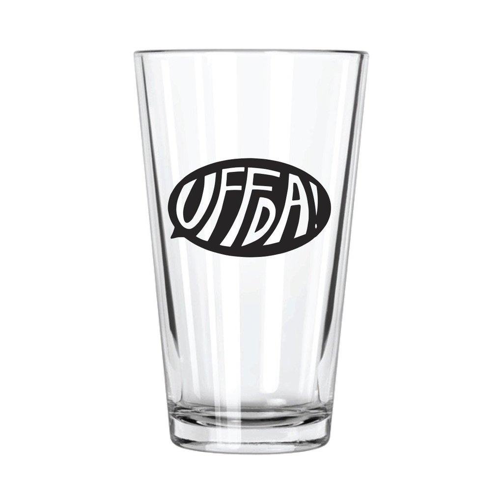 Northern Glasses Pint Glass - Black Uff Da Quote Bubble