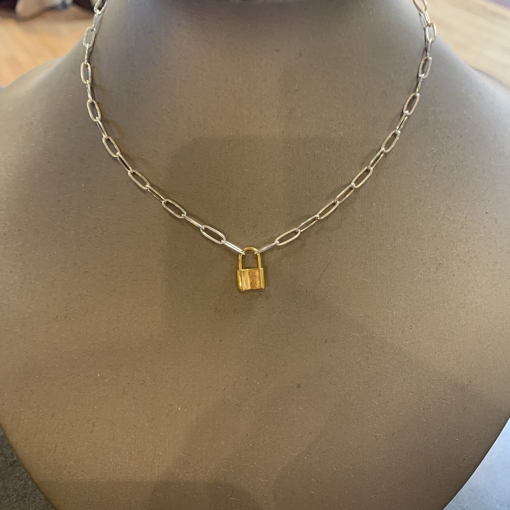 "Helen Wang Jewelry Necklace - 15"" Oblong Links Padlock"