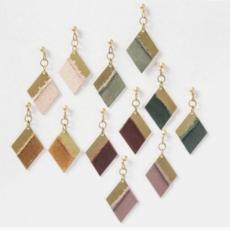 Permanent Baggage Earrings - Leather Diamond Shape