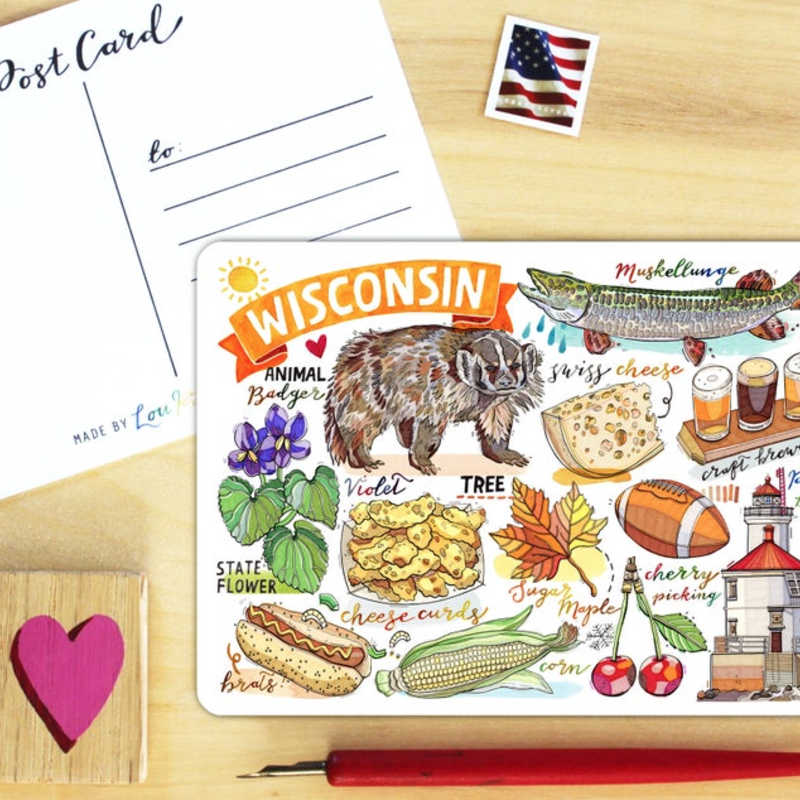 LouPaper Postcard - Wisconsin Collage