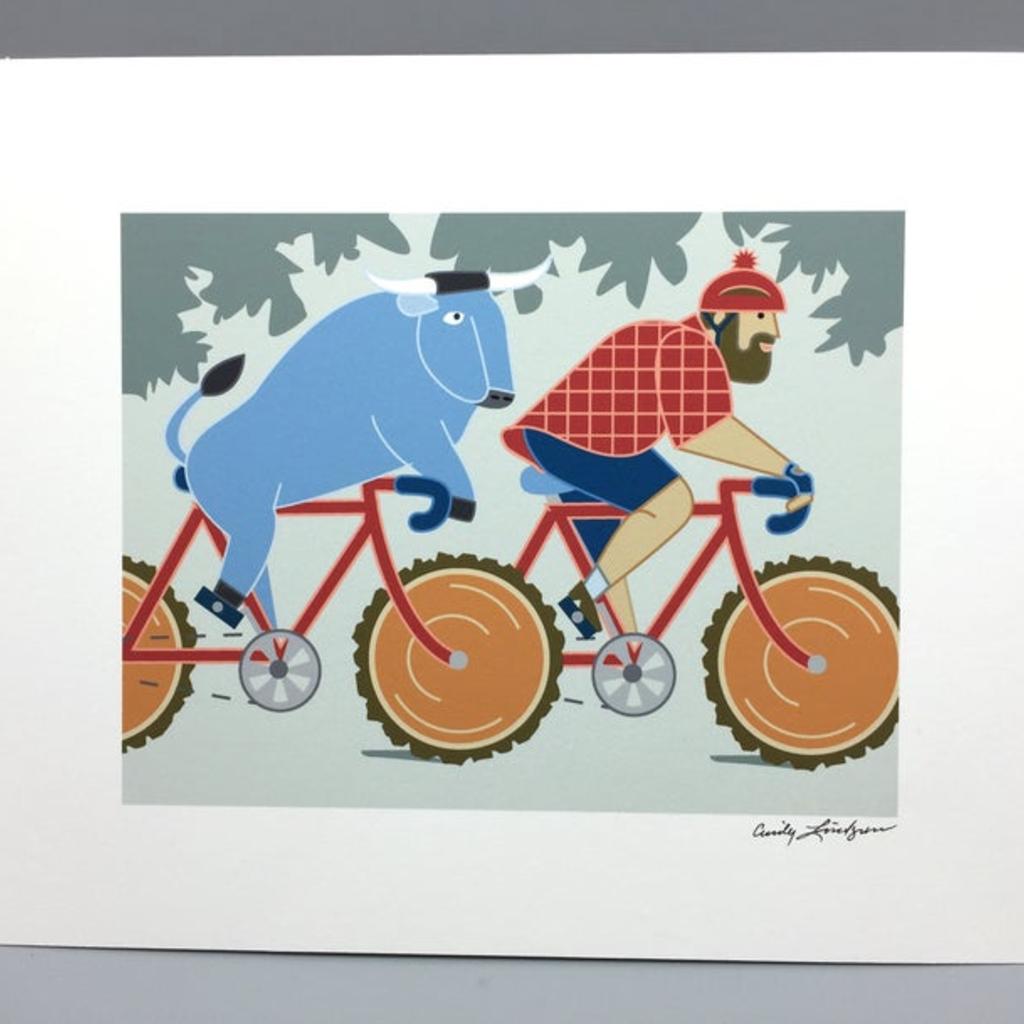 Paul Bunyan and Babe the Blue Ox Bike Print (8x10)