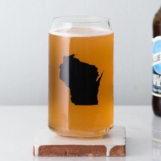Vital Industries (WI) Beer Can Glass - Wisconsin Silhouette Chevron
