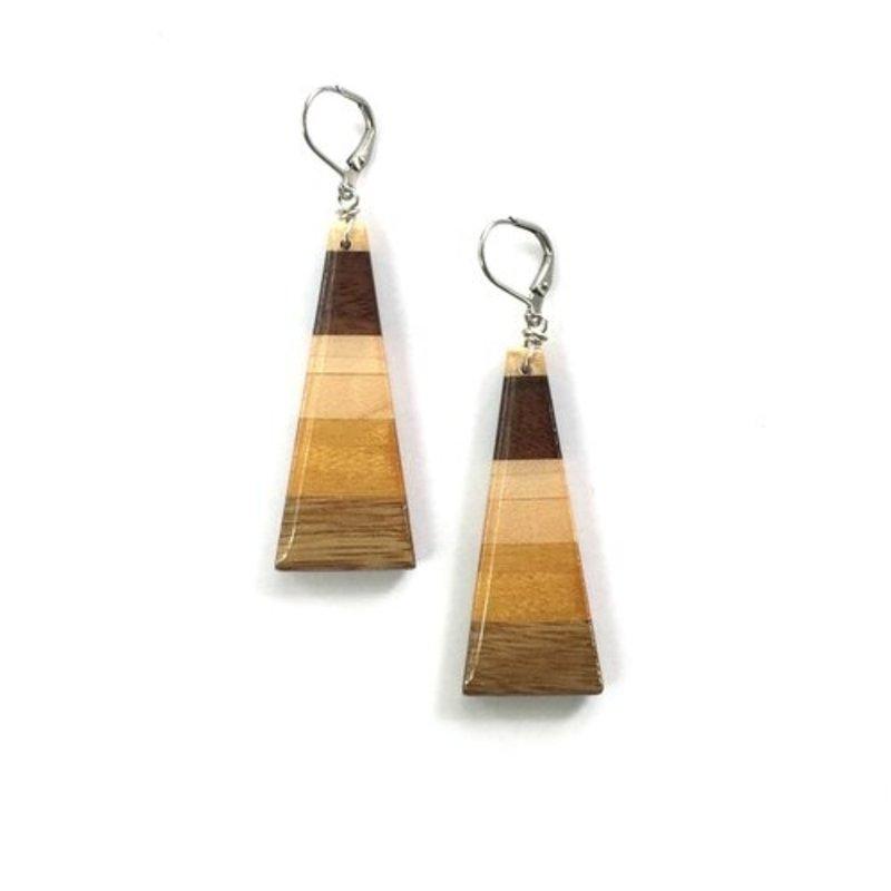 Isosceles Wood Triangle Earrings