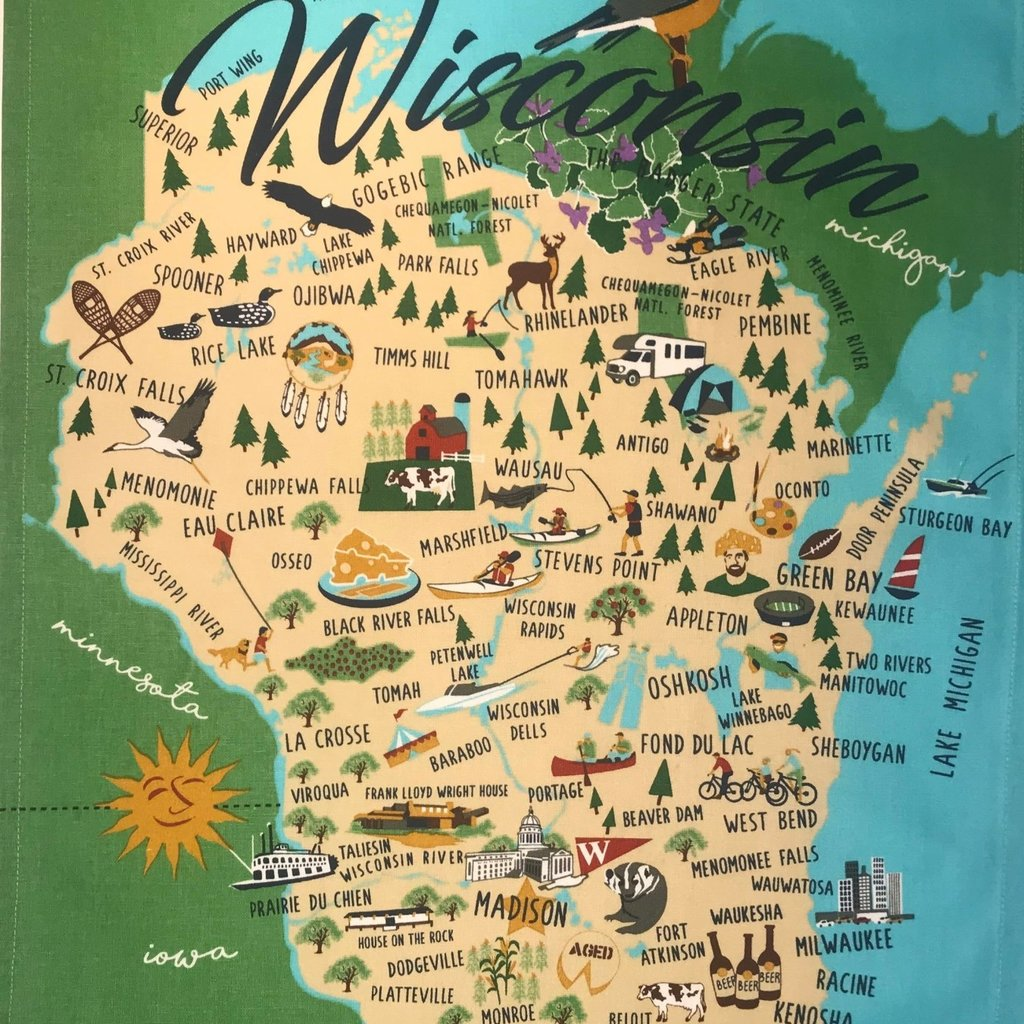 Volume One Whimsical Wisconsin Towel