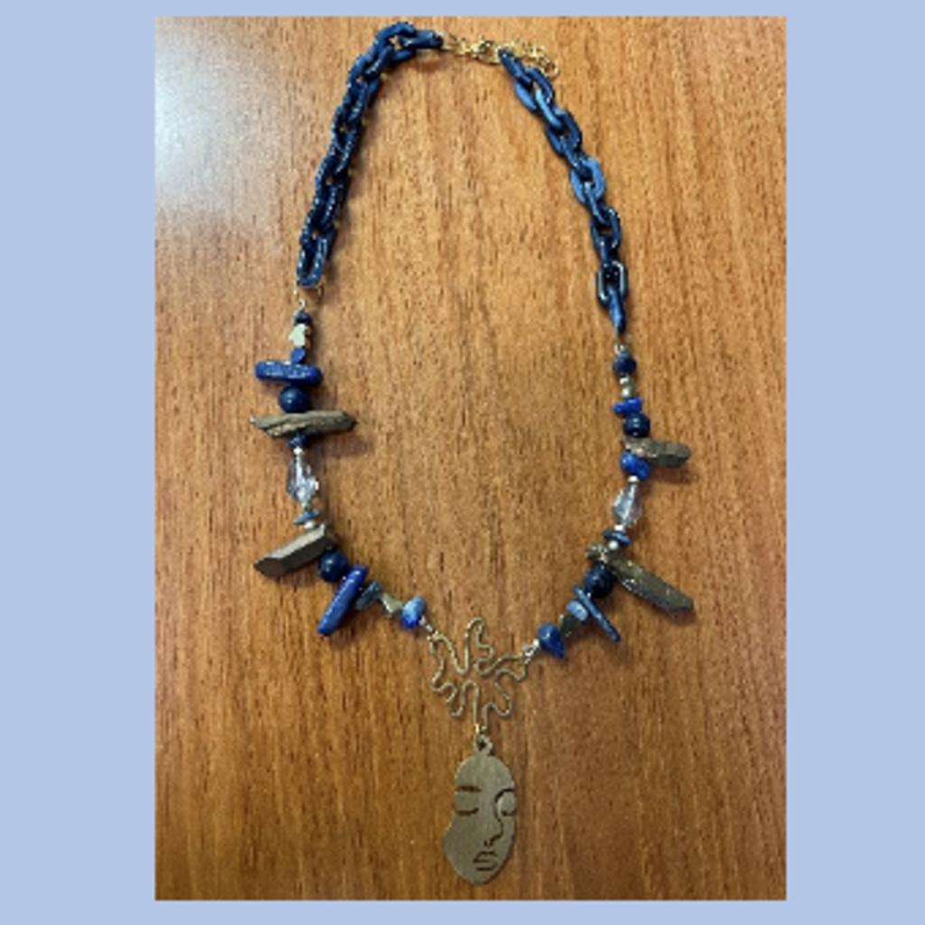 Necklace - Navy & Bronze Face