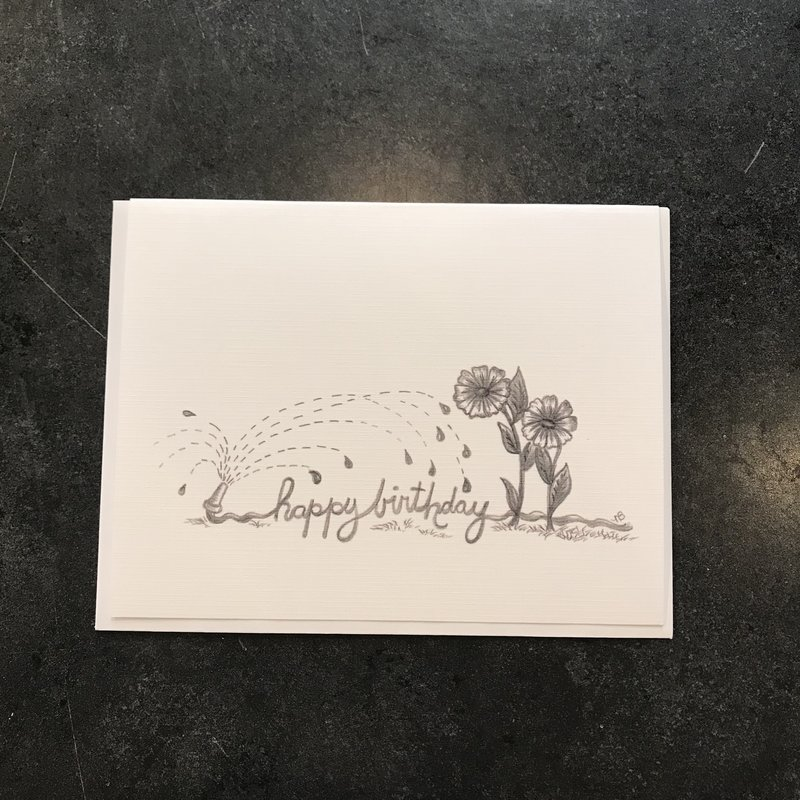 Nadine Bresina Happy Birthday with Flowers and Hose Greeting Card