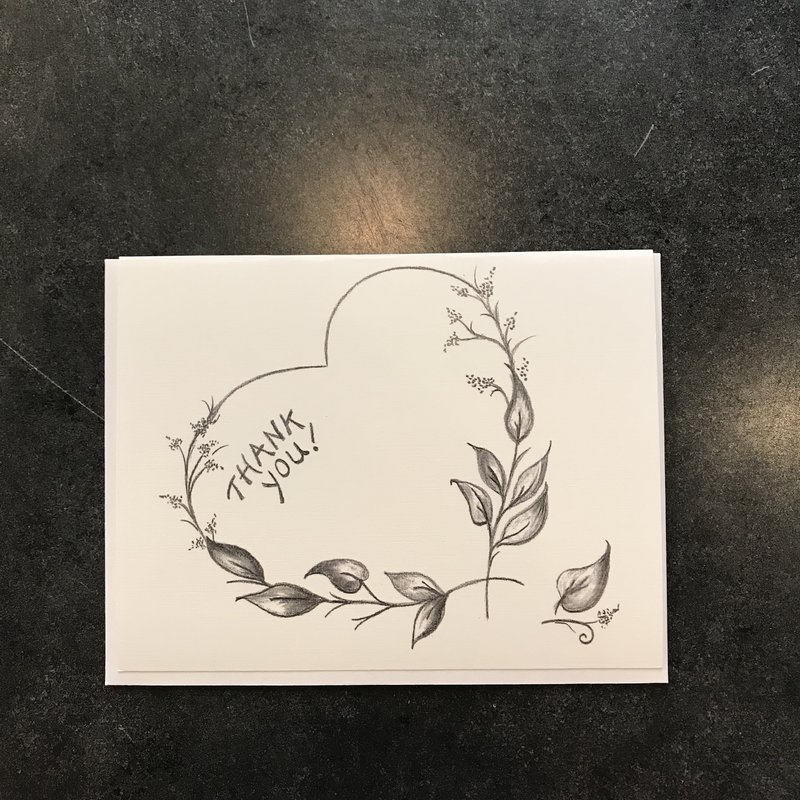 Nadine Bresina Heart Shape Thank You Greeting Card