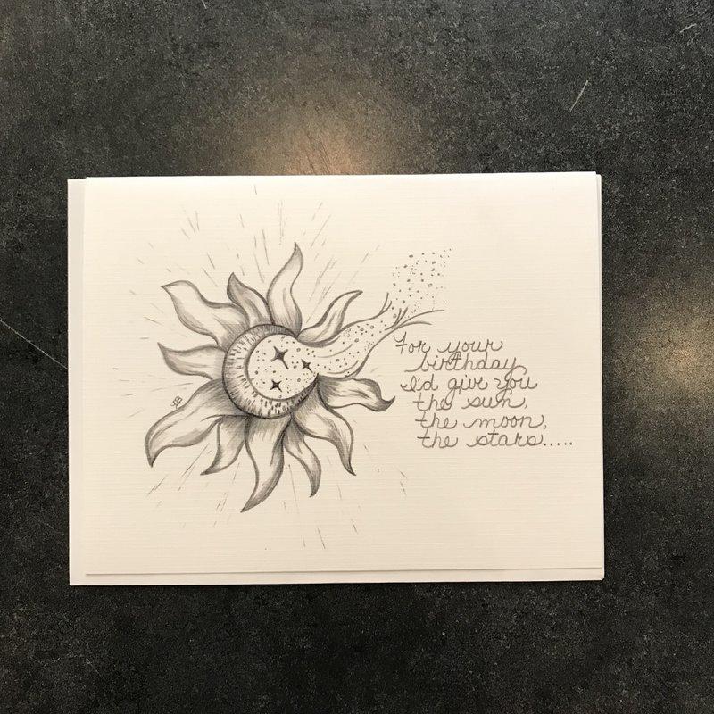 Nadine Bresina Sun Moon Star Birthday Greeting Card