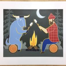Paul Bunyan Campfire Print (8x10)