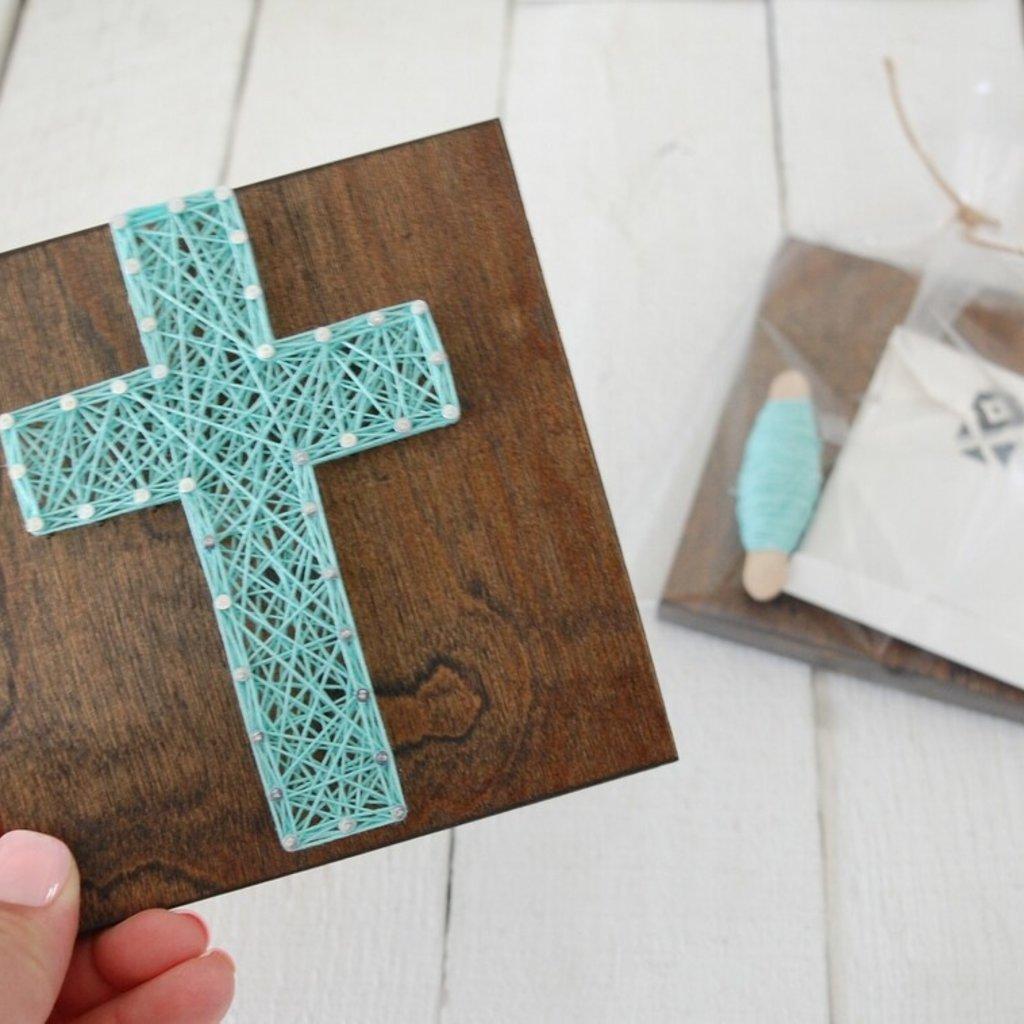 Strung on Nails DIY String Art Kit - Cross