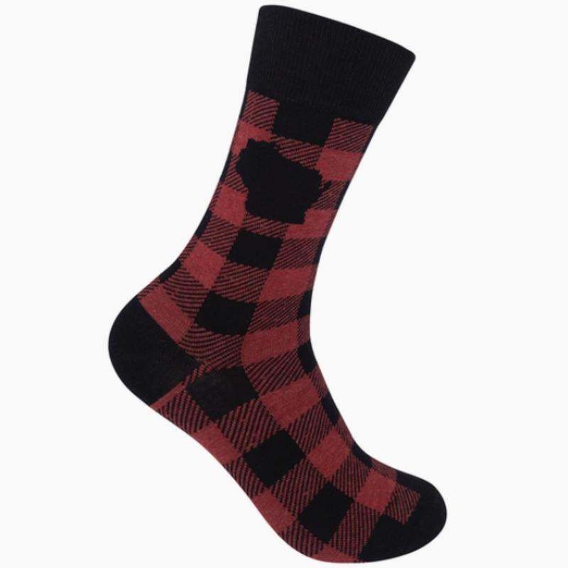 Volume One Socks - Wisconsin Red Buffalo Check Plaid