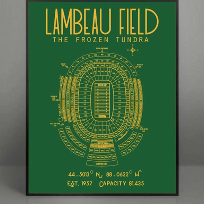 Green Bay Packers Lambeau Field Stadium Poster