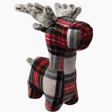 Red/Grey Plaid Reindeer Doorstop