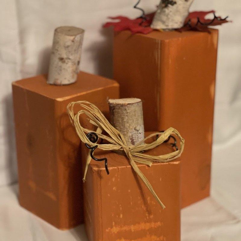 Square Wood Pumpkin