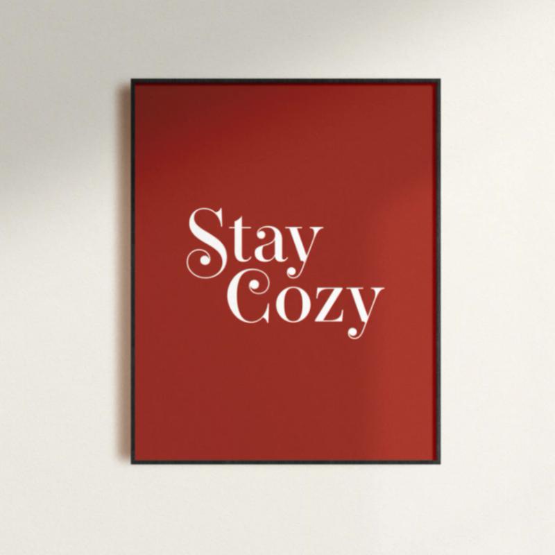 Red Stay Cozy Print 11x14