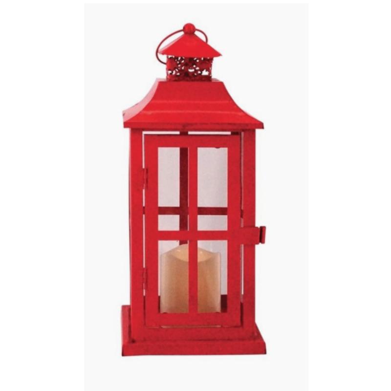 Square Red Metal Lantern W/Led Candle