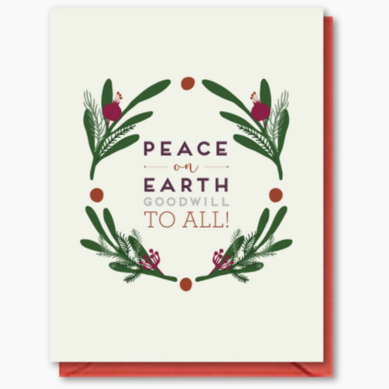 Doodle Bird Design Greeting Card - Peace On Earth