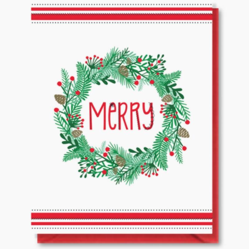 Doodle Bird Design Greeting Card - Merry Wreath