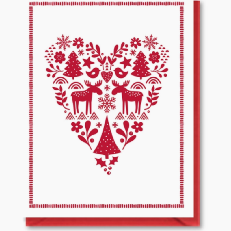 Doodle Bird Design Greeting Card - Scandinavian Heart