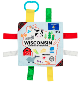 """Wisconsin State Baby Crinkle Tag Square 8""""x 8"""" Toy"""