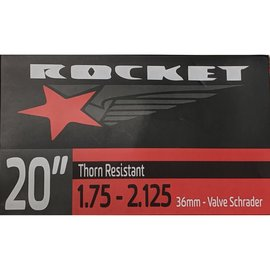 "Rocket TUBE 20"" x 1.75/2.125 36mm SCHRADER VALVE THORN RESISTANT"