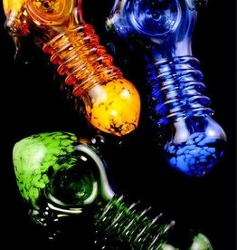Colored Spiral Ring Frit Glass Pipe