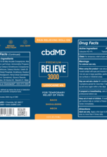 cbdMD cbdMD Relieve 3000mg Roll-On w/Lidocaine