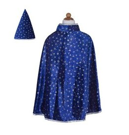 Great Pretenders Glitter Wizard Cape & Hat, Blue, 4-6