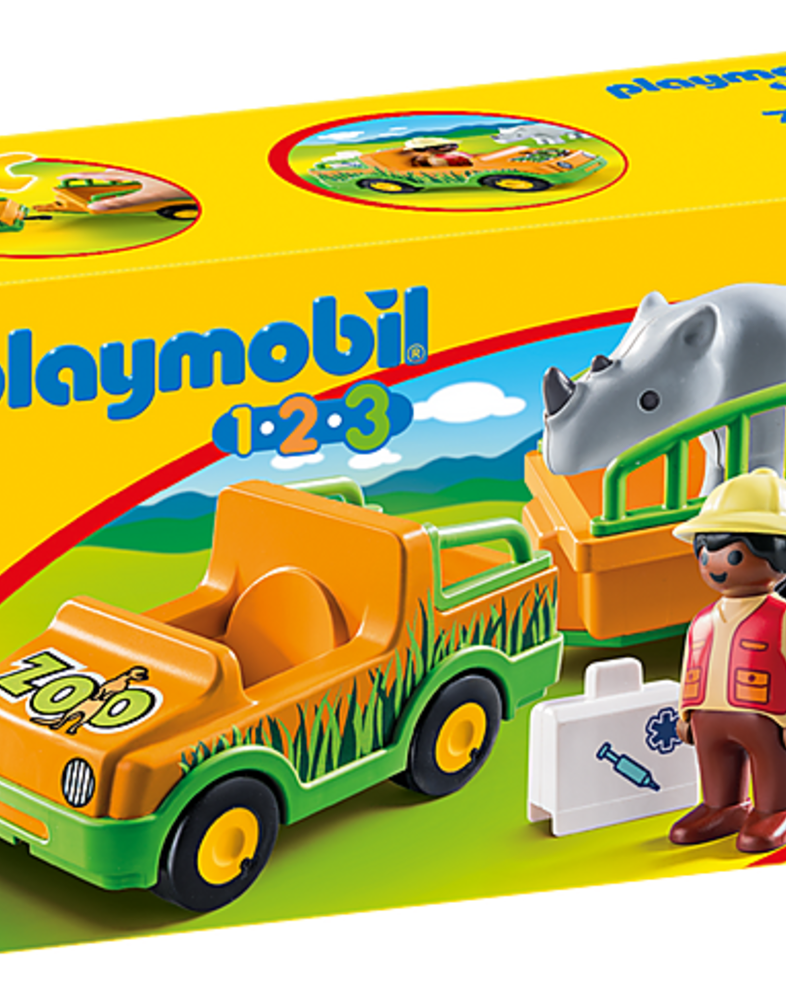 Playmobil 1,2,3 - Zoo Vehicle with Rhinoceros