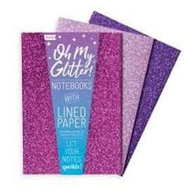 "OOLY OH MY GLITTER! NOTEBOOKS: AMETHYST & RHODOLITE - SET OF 3 (4"" X 5.75"")"
