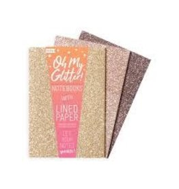 "OOLY OH MY GLITTER! NOTEBOOKS: GOLD & BRONZE - SET OF 3 (4"" X 5.75"")"