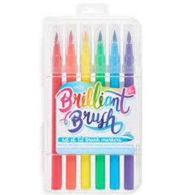 OOLY BRILLIANT BRUSH MARKERS - SET OF 12